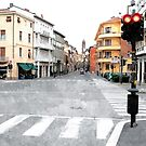 Faenza street with traffic lights and buildings by Giuseppe Cocco