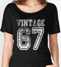 Vintage 67 2067 1967 T-shirt Birthday Gift Age Year Old Boy Girl Cute Funny Man Woman Jersey Style Women's Relaxed Fit T-Shirt