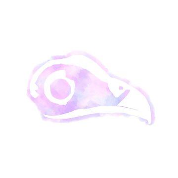 Bird Skull - Watercolor by sponk