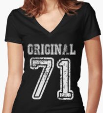 Original 71 2071 1971 T-shirt Birthday Gift Age Year Old Boy Girl Cute Funny Man Woman Jersey Style Women's Fitted V-Neck T-Shirt