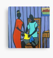 Man Woman & Child Canvas Print