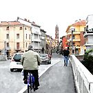 Man on bicycle by Giuseppe Cocco