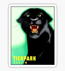 TIERPARK BERLIN ZOO; Vintage Black Panther Print Sticker