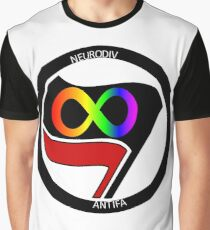 Neurodivergent Antifascist Flag Graphic T-Shirt