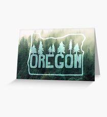 Oregon, Misty Hillside Forest Greeting Card