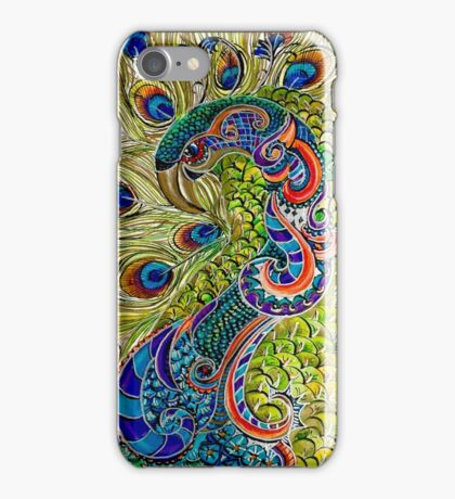 Proud Peacock in Ink and color pencil iPhone Case/Skin