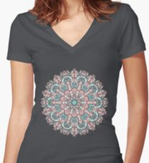 mandala#31 on pink background Women's Fitted V-Neck T-Shirt