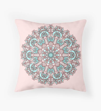 mandala#31 on pink background Throw Pillow