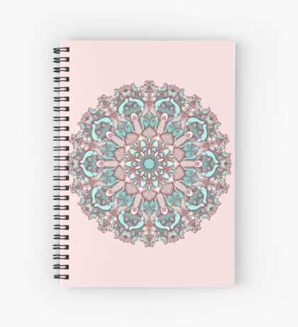 mandala#31 on pink background Spiral Notebook