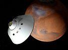 Künstlerisches Konzept eines in der Lufthülle eingeschlossenen Raumfahrzeugs nähert sich dem Mars. von StocktrekImages