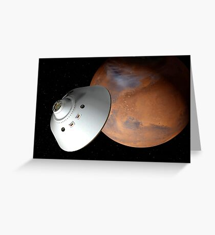 Künstlerisches Konzept eines in der Lufthülle eingeschlossenen Raumfahrzeugs nähert sich dem Mars. Grußkarte