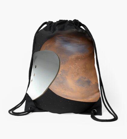 Künstlerisches Konzept eines in der Lufthülle eingeschlossenen Raumfahrzeugs nähert sich dem Mars. Turnbeutel