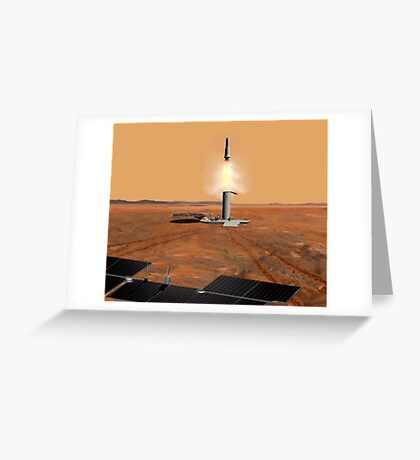 Das Konzept des Künstlers eines Aufstiegsfahrzeugs, das Mars verlässt. Grußkarte