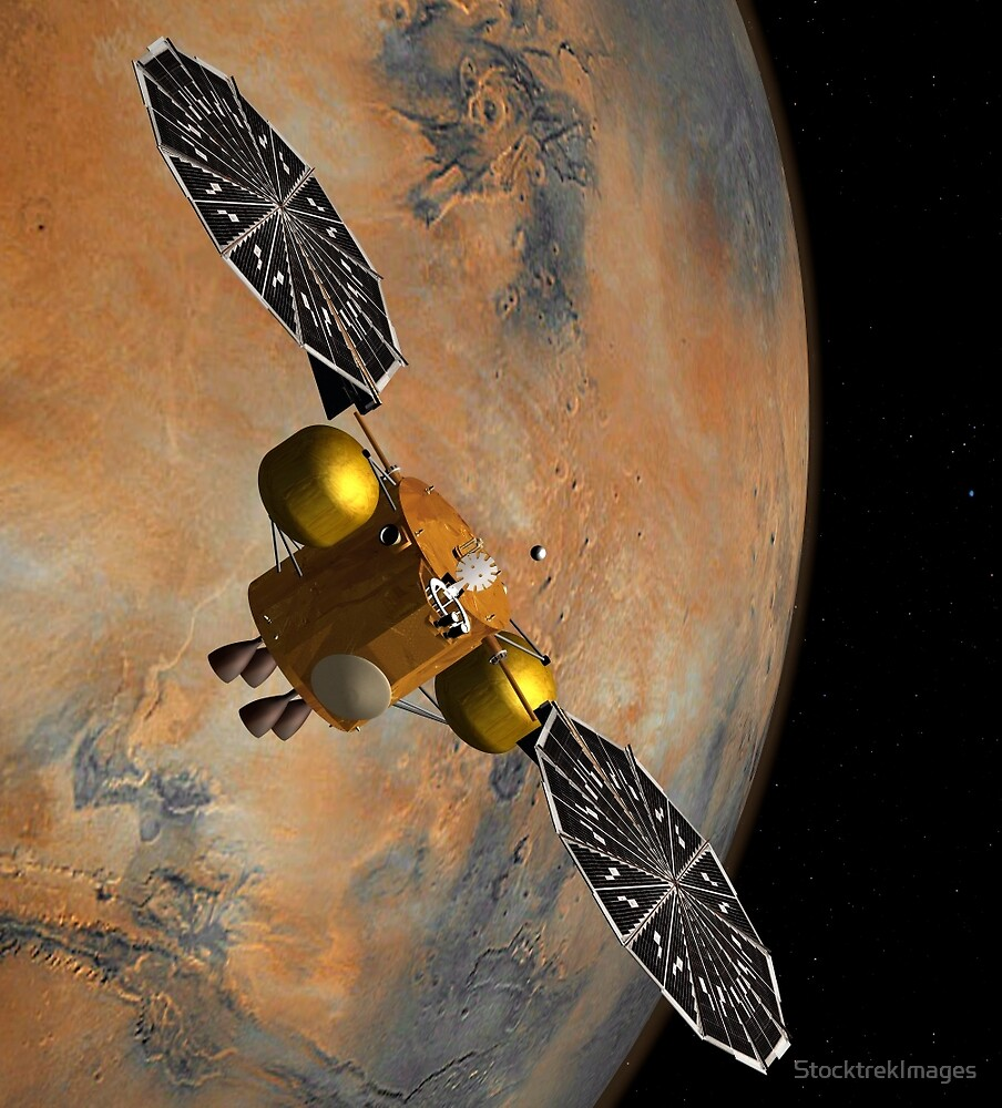 Das Konzept des Künstlers eines Raumfahrzeugs, das Mars umkreist. von StocktrekImages