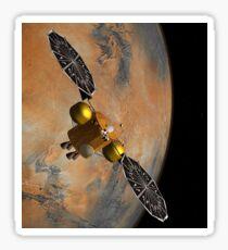 Artist's concept of a spacecraft orbiting Mars. Sticker