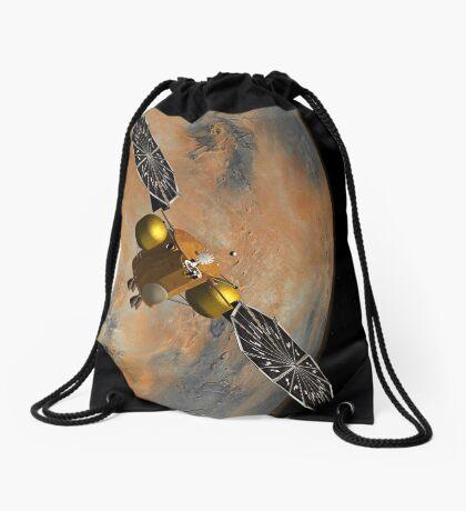 Das Konzept des Künstlers eines Raumfahrzeugs, das Mars umkreist. Turnbeutel