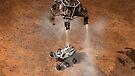 Das Konzept des Künstlers von NASAs Curiosity-Rover, der auf die Marsoberfläche aufsetzt. von StocktrekImages
