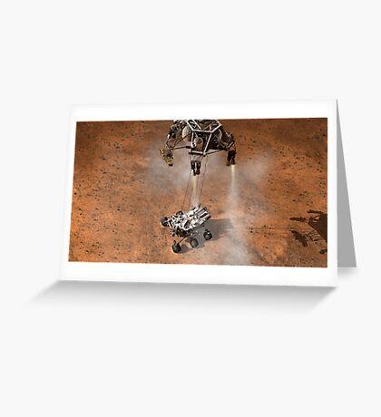 Das Konzept des Künstlers von NASAs Curiosity-Rover, der auf die Marsoberfläche aufsetzt. Grußkarte
