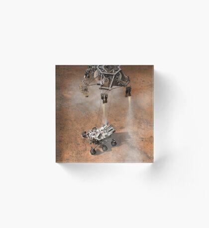 Das Konzept des Künstlers von NASAs Curiosity-Rover, der auf die Marsoberfläche aufsetzt. Acrylblock