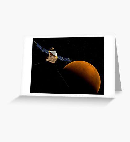 Künstlerisches Konzept der MAVEN-Raumsonde der NASA. Grußkarte
