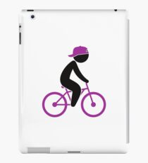 A cyclist rides on his bicycle iPad Case/Skin