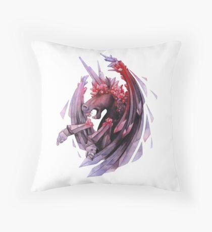 Watercolor crystallizing demonic horse Throw Pillow