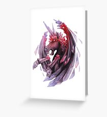 Watercolor crystallizing demonic horse Greeting Card