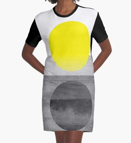 Yellow #abstract  Graphic T-Shirt Dress