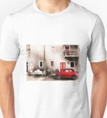 Old vintage italian scene. Small antique red car. Unisex T-Shirt