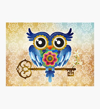 Spring Guardian Owl Photographic Print