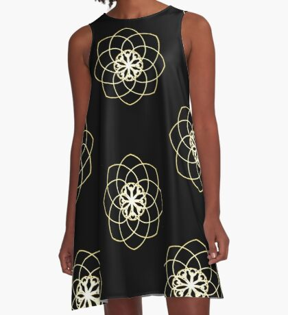 Many hearts, Much Joy! - Gold Phi Spiral A-Line Dress