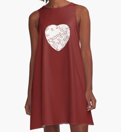 Stylised Red & White Heart A-Line Dress