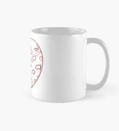 Stylised Red & White Heart Mug
