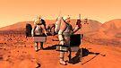 Das Konzept des Künstlers von den Astronauten, die Wetterüberwachungsausrüstung auf Mars errichten. von StocktrekImages