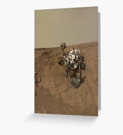 Selbstporträt von Curiosity Rover auf der Oberfläche des Mars. Grußkarte