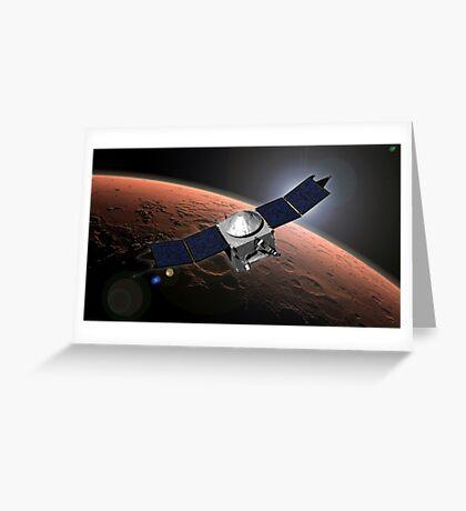 Künstlerkonzept der Mars Atmosphere und Volatile Evolution Mission der NASA. Grußkarte