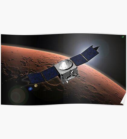 Künstlerkonzept der Mars Atmosphere und Volatile Evolution Mission der NASA. Poster