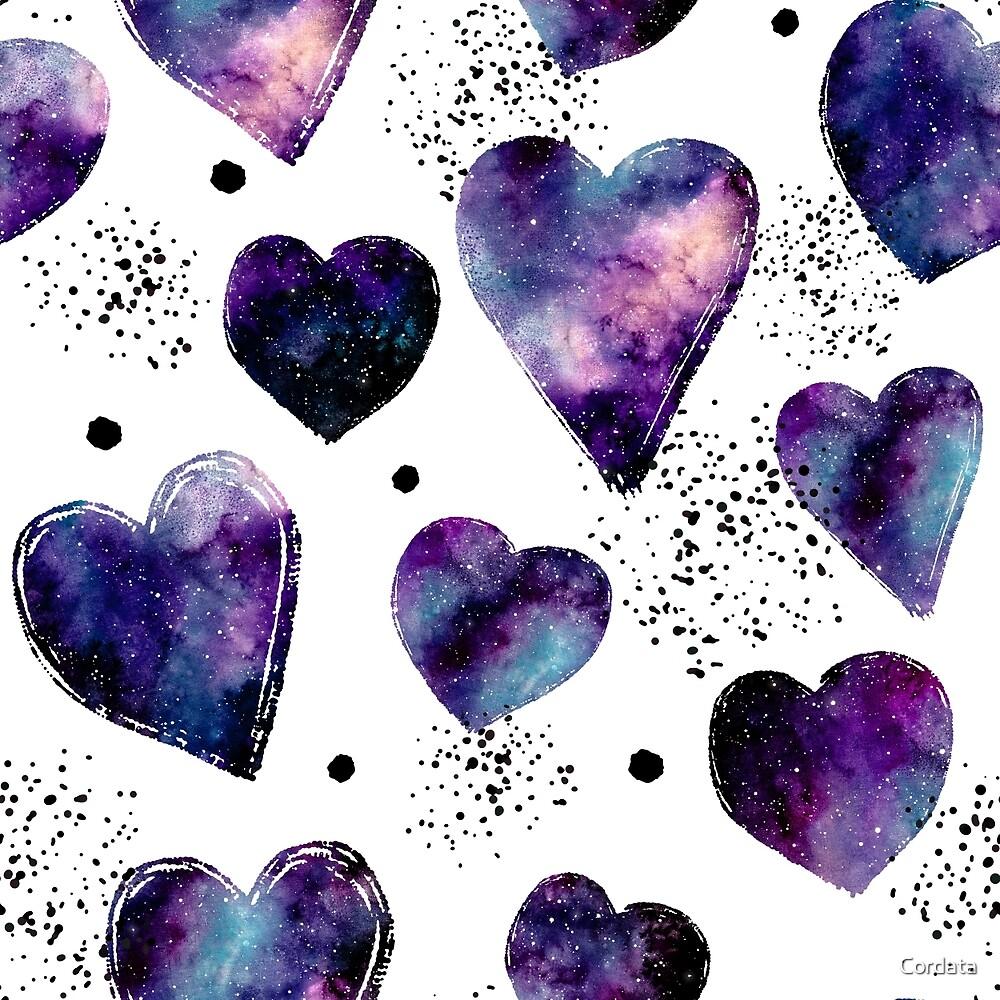 Watercolor Pink Nebula, Hearts and Dots by Cordata