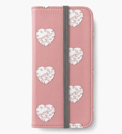 Stylised Red & White Heart iPhone Wallet