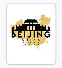 BEIJING CHINA SILHOUETTE SKYLINE MAP ART  Sticker