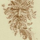 Silverpoint Drawing of the Greenman by justteejay