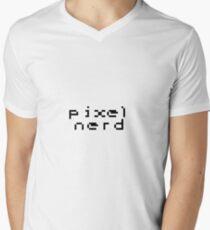 Pixel Nerd (With Border) Men's V-Neck T-Shirt