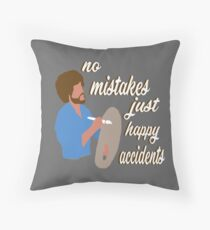 Bob Ross Happy Accidents Throw Pillow