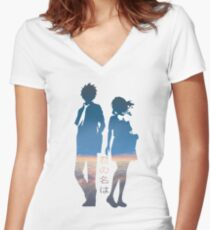 Kimi no Na wa - Your Name Women's Fitted V-Neck T-Shirt