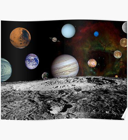 Montage der Planeten und Jupitermonde. Poster