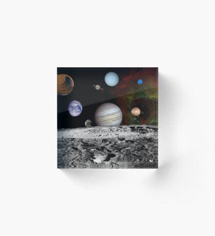 Montage der Planeten und Jupitermonde. Acrylblock