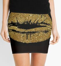 gold lips Mini Skirt