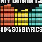 My Brain Is 80% 90% Song Lyrics Funny Musical Music Musicians Graphic Tee Shirt  by DesIndie