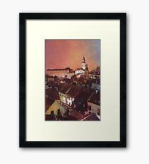 Watercolor painitng of Cesky Krumlov at sunset- Czech Republic Framed Print