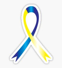 Blue & Yellow Awareness Ribbon Sticker